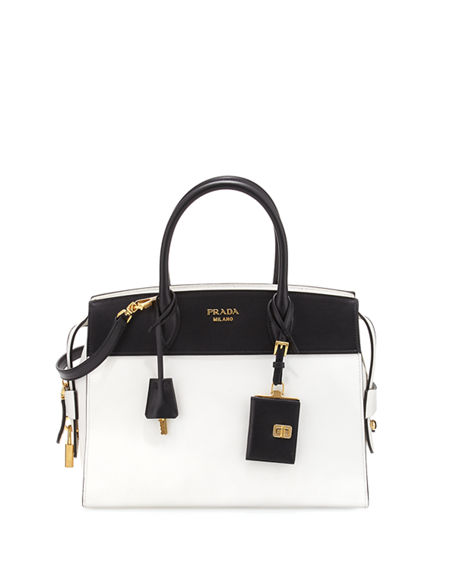 e31afdbe111e Prada Esplanade Medium Bicolor City Satchel Bag, White/Black (Bianco/Nero)