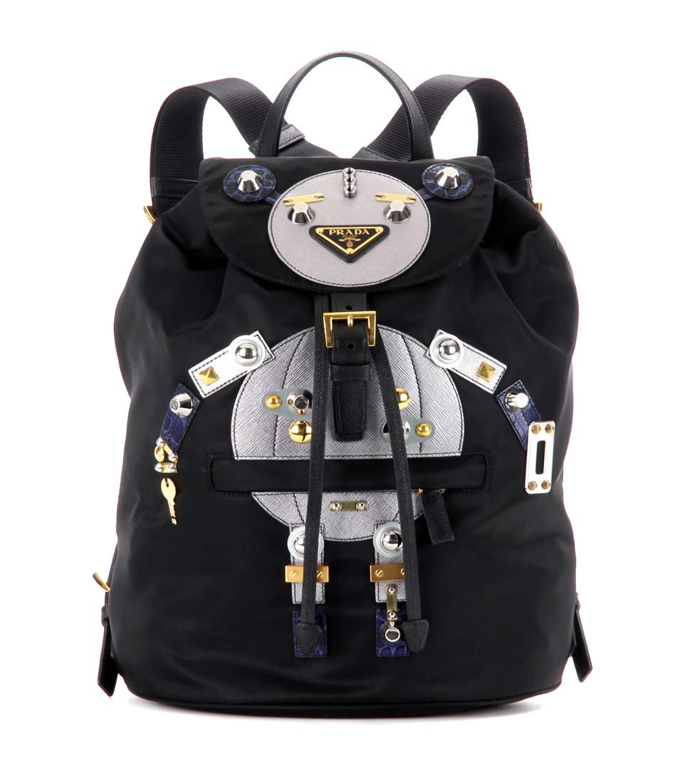 Prada Robot Large Appliquéd Shell And Leather Backpack In Eero+cromo