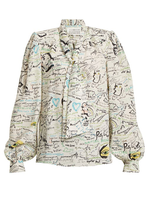 Maison Margiela Scribble-Print Georgette Bow Blouse In White