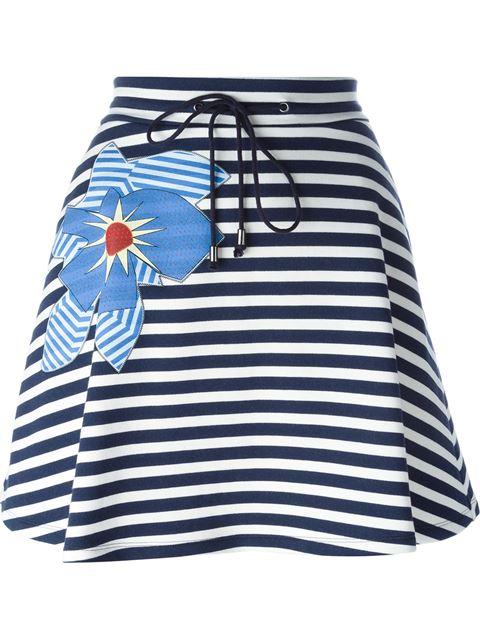 Jil Sander Flower AppliquÉ Striped Skirt In Dark Blue