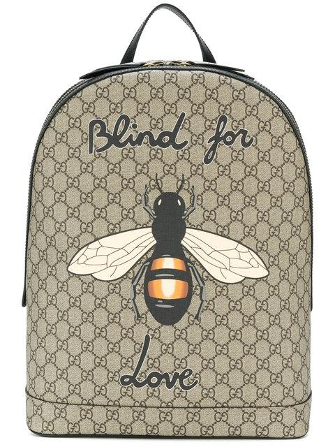83d415206a6d0 Gucci Bee Print Gg Supreme Backpack
