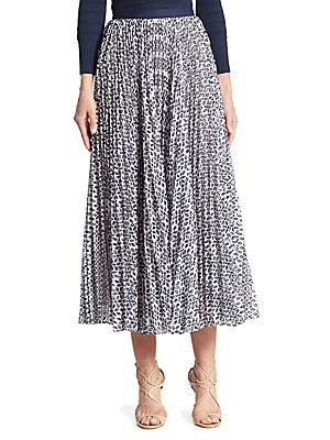 f16164e1f2 Oscar De La Renta Floral Pleated Skirt In White Navy | ModeSens