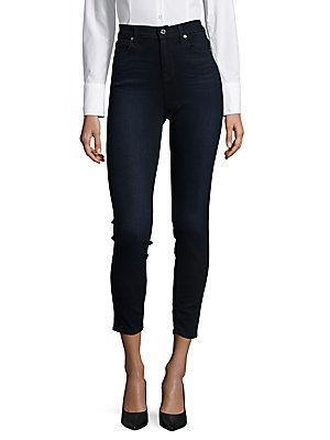 7 For All Mankind High-Rise Denim Jeans In Dark Blue