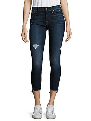 7 For All Mankind The Ankle Skinny Jeans In Blue