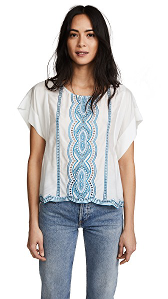Ella Moss Embroidered Scalloped T-Shirt In Natural