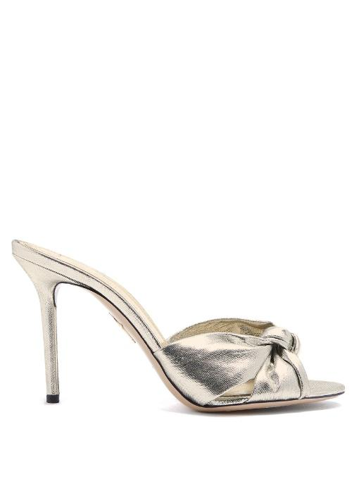 7b201aaf0996a Charlotte Olympia Women's Knotted High-Heel Slide Sandals In Silver ...