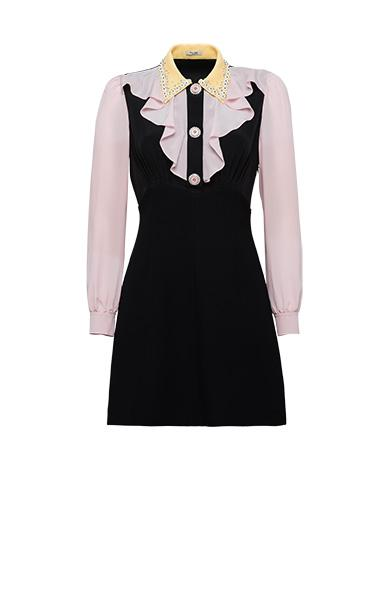 Miu Miu Cady Dress With Detailing On Collar In Black