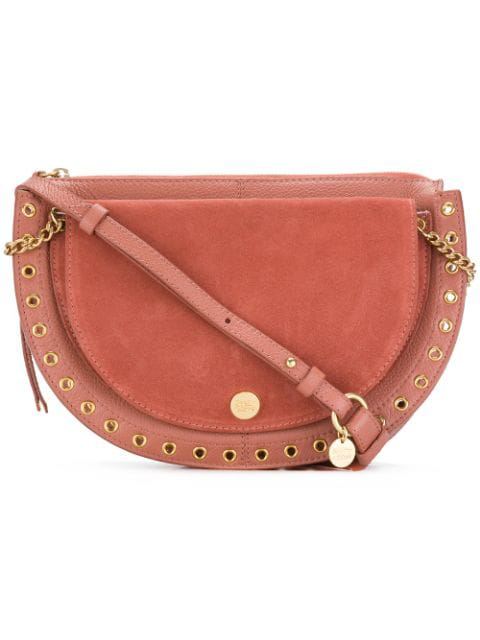 ac7dab82e9 Kriss Small Eyelet-Embellished Textured-Leather And Suede Shoulder Bag in  Antique Rose