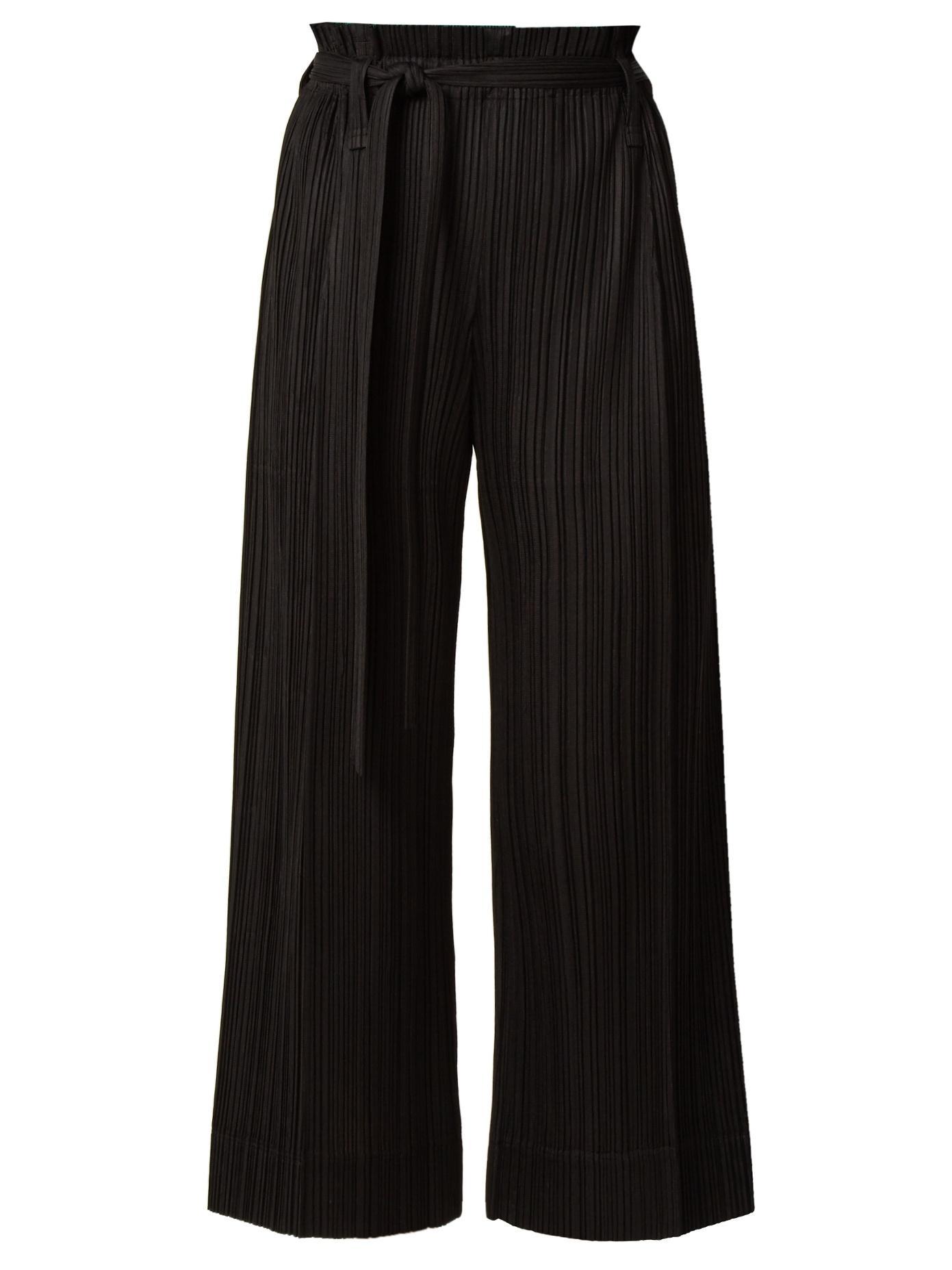 243de59203 Pleats Please Issey Miyake Paperbag-Waist Wide-Leg Pleated Cropped Trousers  In Black