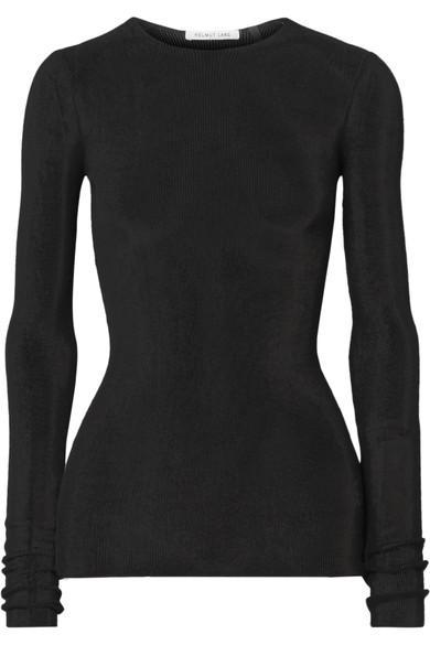 Helmut Lang Open-Knit Cotton Top In Black
