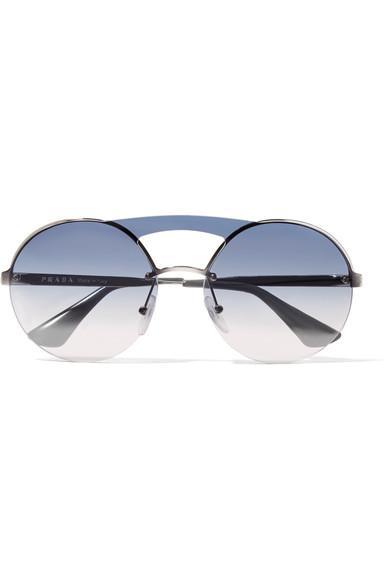 ef4795a79152 Prada Round-Frame Silver-Tone Sunglasses