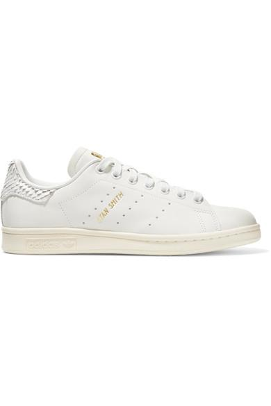 promo code 5d941 728a4 Adidas Originals Stan Smith Snake Effect-Trimmed Leather Sneakers In White