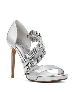 874f32c335 Michael Michael Kors Women's Bella Ruffled Leather Platform High-Heel  Sandals In Silver