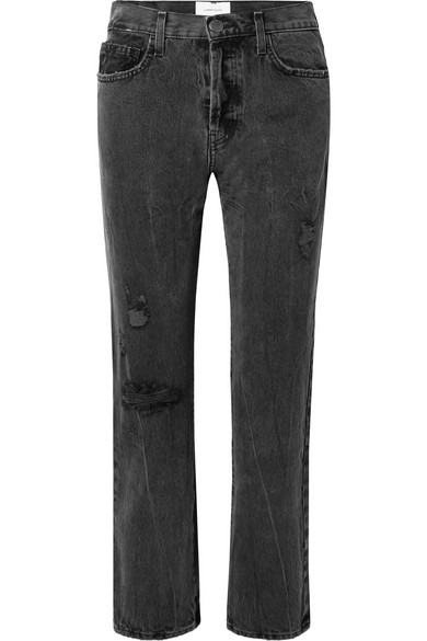 Current Elliott The Original Straight Distressed High-Rise Jeans In Black