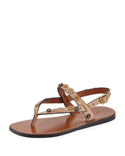 cbde6f228 Coach Hudson Tea Rose Flat Thong Sandal In Beige