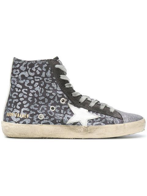 Golden Goose Francy Leopard Sneakers In Glitter Leopard-White Star