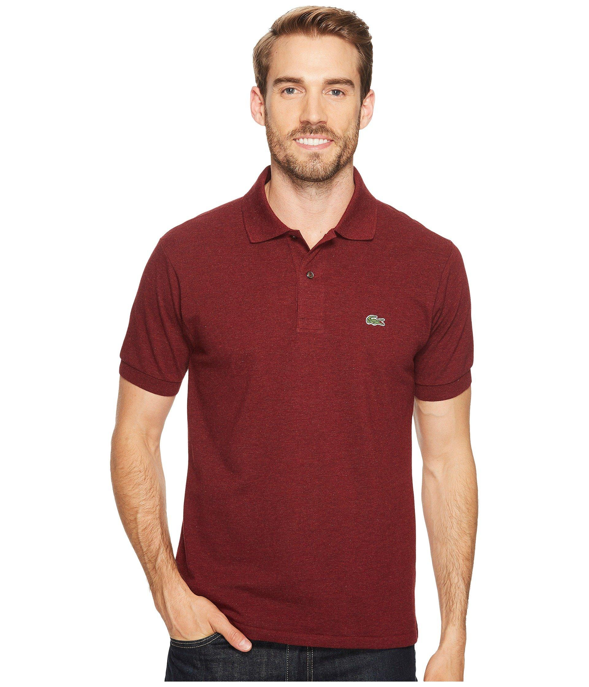 5836cf335 Lacoste Short Sleeve Classic Fit Chine Pique Polo Shirt In Red Basque Chine