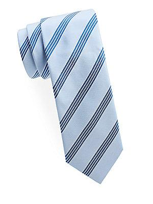 Brioni Stripe Silk Tie In Indigo