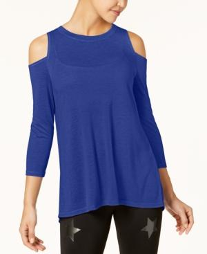 Calvin Klein Performance Split-Back Cold-Shoulder Top In Bold Blue
