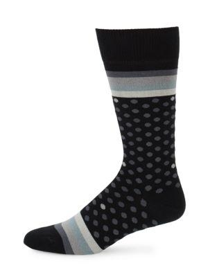 Paul Smith Men's Polka Stripe Socks In Black