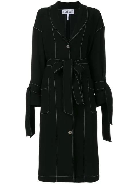 Loewe Contrast-Stitch Tie-Waist Jacket In Black