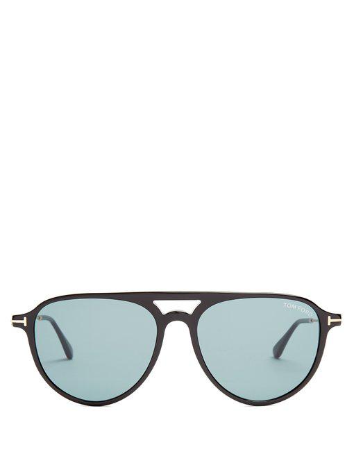 08b9c46351f3 Tom Ford Carlo Aviator Acetate Sunglasses In Black