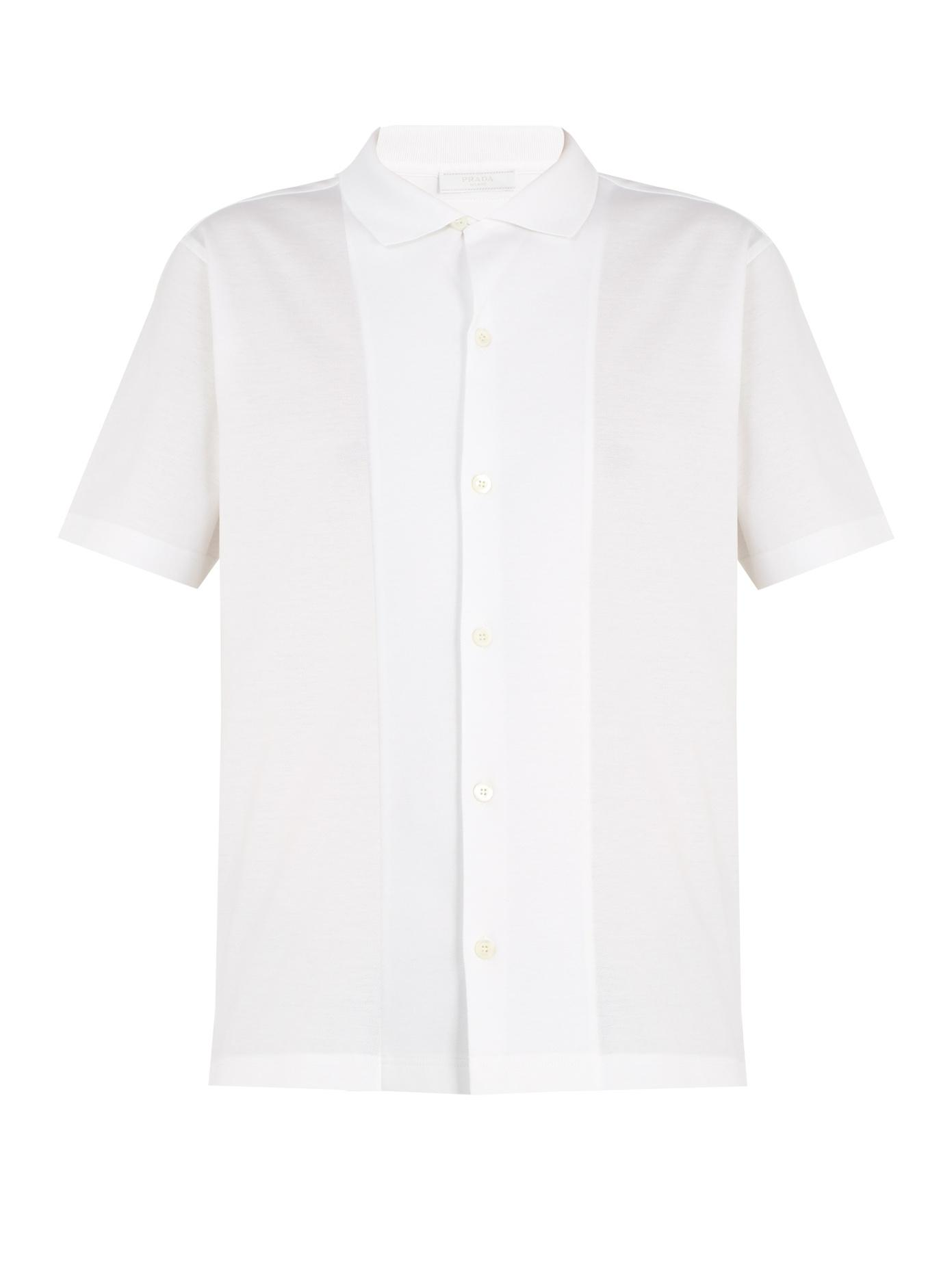 Prada Point-Collar Cotton-PiquÉ Polo Shirt In White