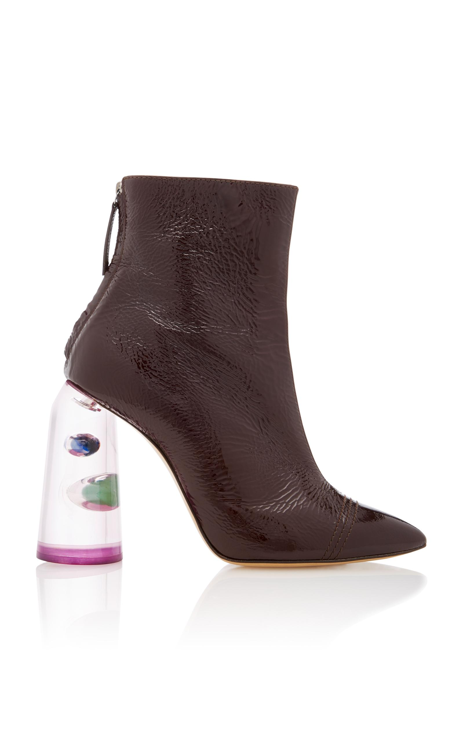 6e85678d5 Ellery Patent Leather And Marbled Perspex Ankle Boots In Burgundy ...