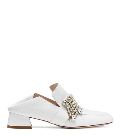 Stuart Weitzman Women's Irises Embellished Leather Block Heel Loafers In White