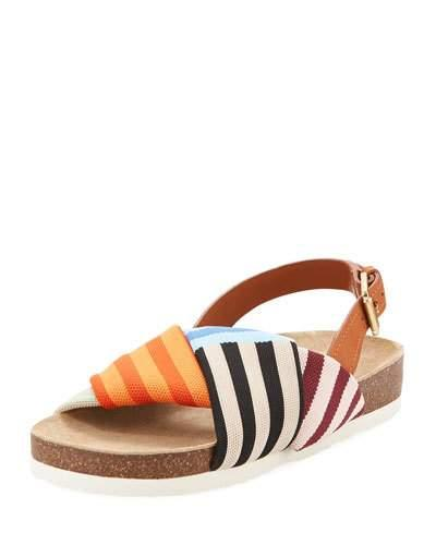 cbed83be91c Tory Burch Corey Multi Patchwork Stripe Tech Knit Fabric And Leather  Flatform Sandals