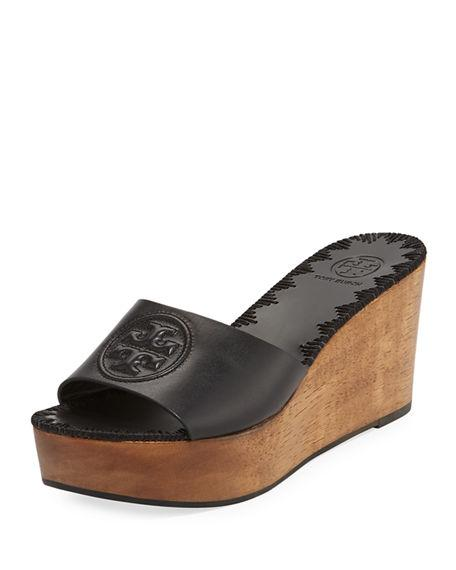 e24221065f5 Tory Burch Women s Patty Leather Platform Wedge Slide Sandals In ...