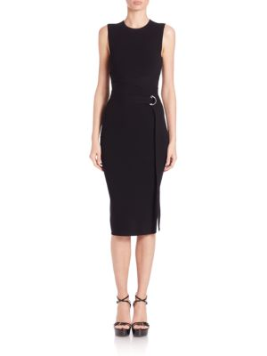 Michael Kors Belted Sheath Dress In Black