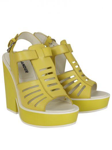Jil Sander Sandals In Lemon With White Soles