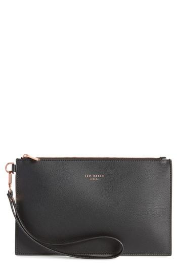 7756471f9751d Ted Baker Top Zip Faux Leather Pouch - Black