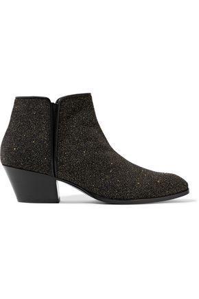 Giuseppe Zanotti Woman Glittered Leather Ankle Boots Black