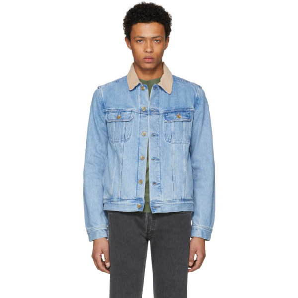 A.p.c. Howl Corduroy-trimmed Denim Jacket In Ial 6205489