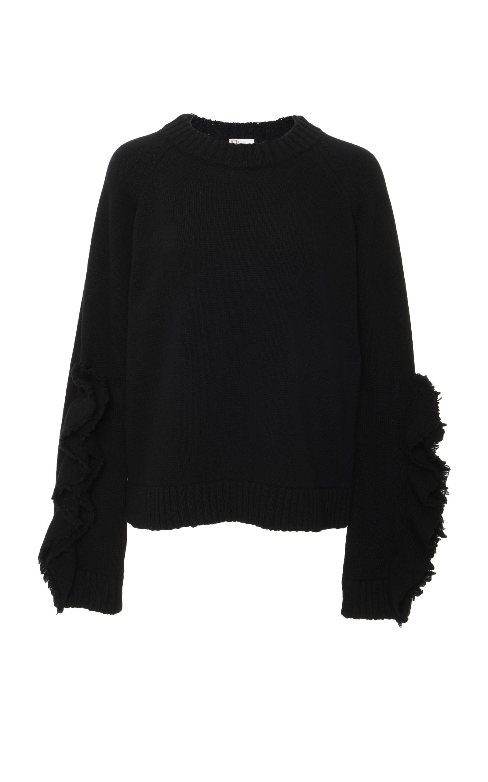 Red Valentino Oversized Wool Knit Ruffle Top In 0N0 Black