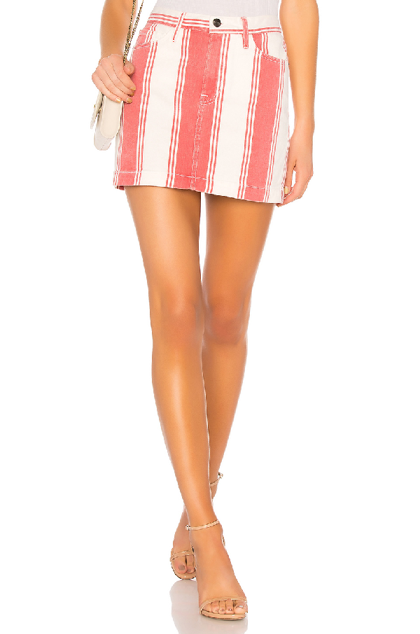 Frame Le Mini Striped Denim Skirt In Fiery Stripe