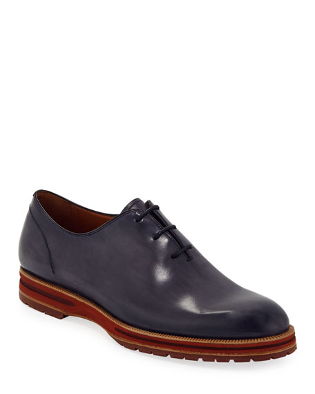 Berluti Leather Lace-Up Oxford In Navy