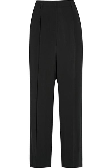 The Row Ray Pleated Stretch-cady Wide-leg Pants In Black
