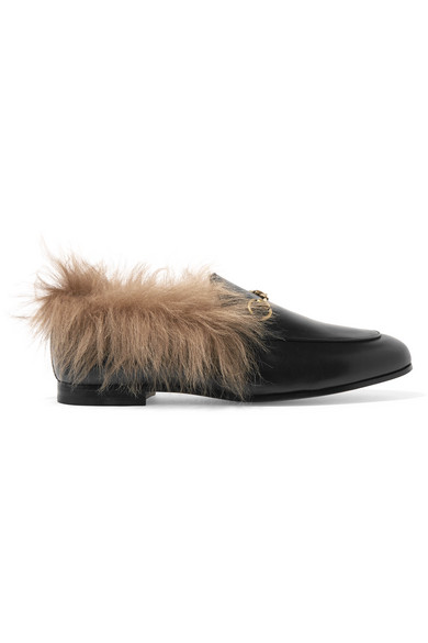 35f315600b7 Gucci Jordaan Horsebit-Detailed Shearling-Lined Leather Loafers In Black
