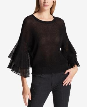 Dkny Semi-Sheer Ruffled Metallic Sweater In Black