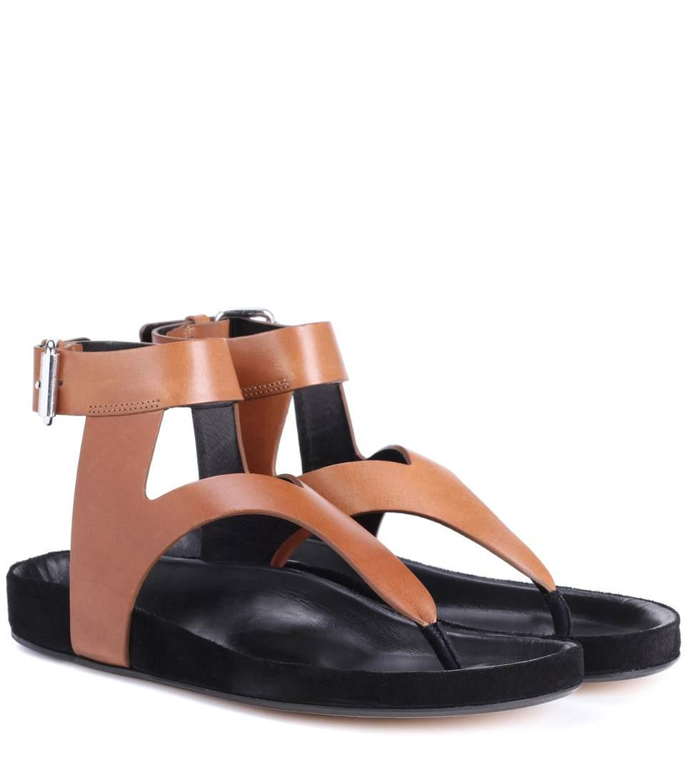 Isabel Marant Elwina Leather Sandals In Brown