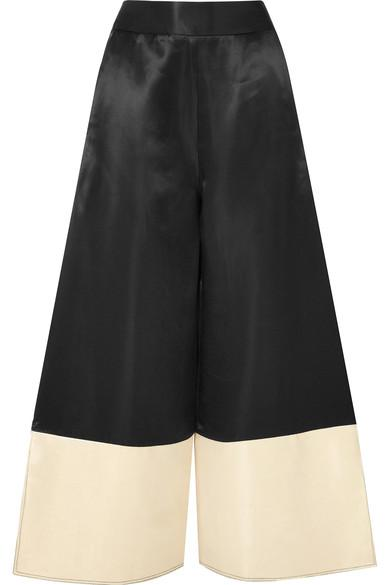 Beaufille Sina Two-Tone Satin Wide-Leg Pants In Black