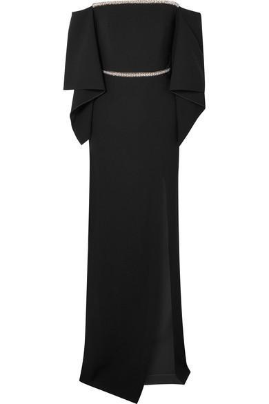 Roland Mouret Off-The-Shoulder Embellished Crepe Gown In Black