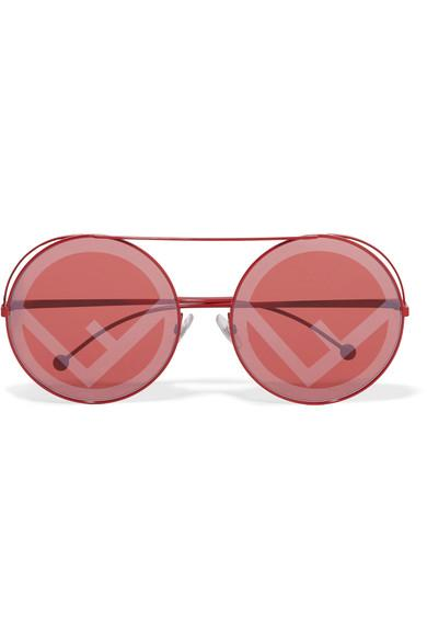 686304a93f7ef6 Fendi Printed Round-Frame Metal Sunglasses In Red | ModeSens