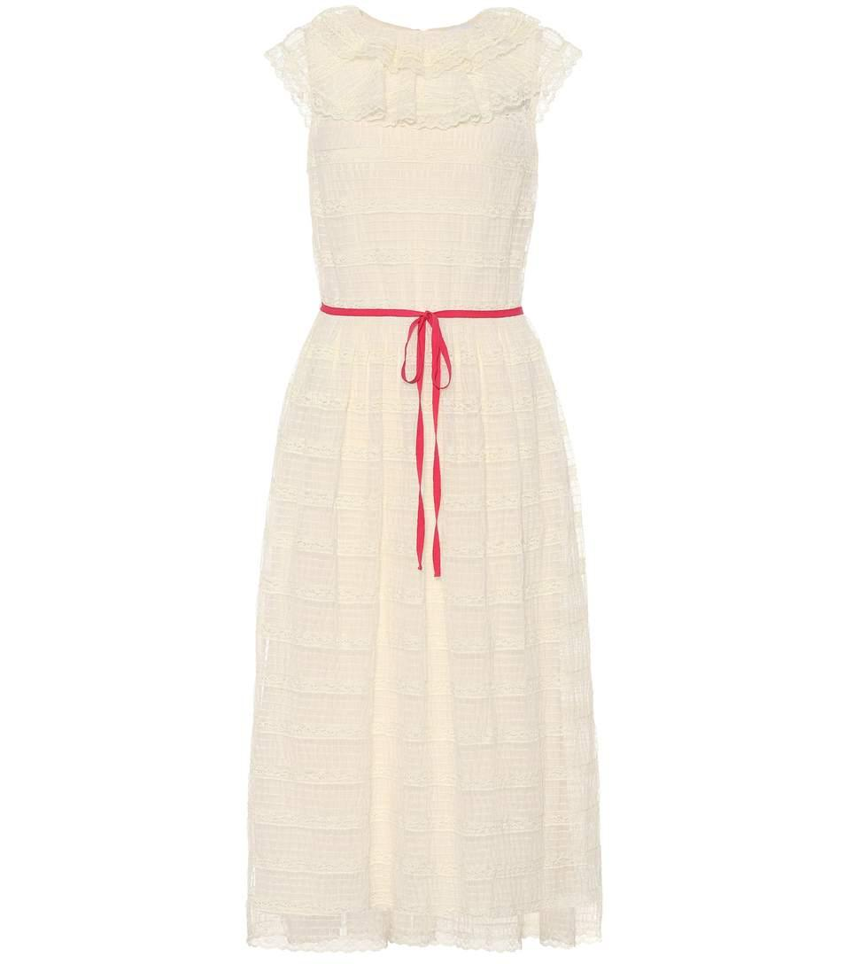 Sleeveless Lace Dress In White