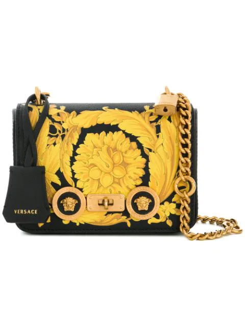 Versace Small Baroque Print Leather Shoulder Bag In K4Mct