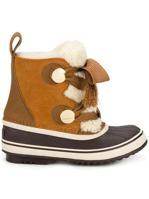 ccb4f334b0 ChloÉ Chloe X Sorel Shearling & Suede Hiking Boots In Brown   ModeSens
