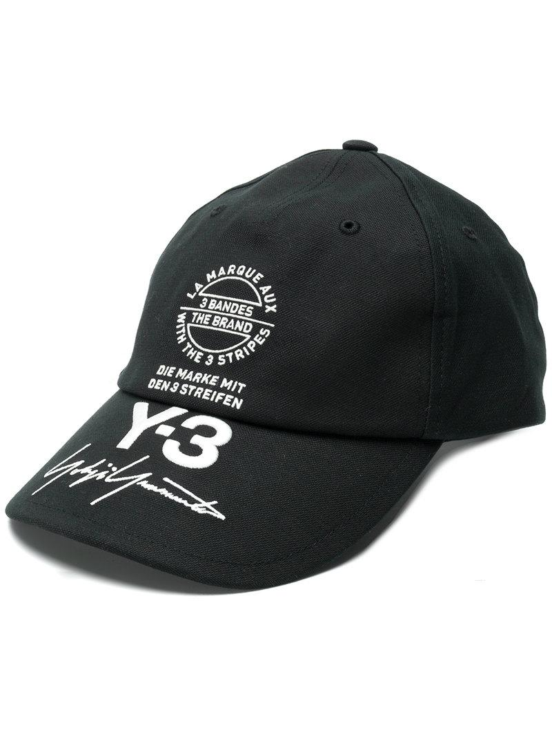 743bb41a08f61 Y-3 Logo-Embroidery Cotton-Canvas Baseball Cap In Black Multi